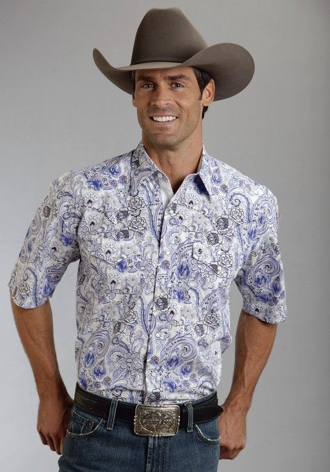 bb302aafc9 Stetson® Mens Blue Crystal Paisley Short Sleeve Pearl Snap Cowboy Shirt