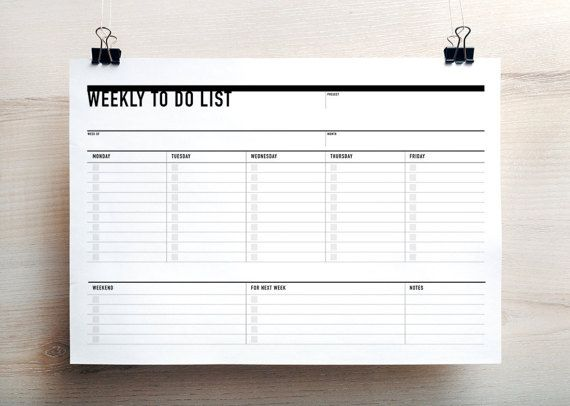 Printable Weekly To Do List, Week Agenda Planner, Printable To Do