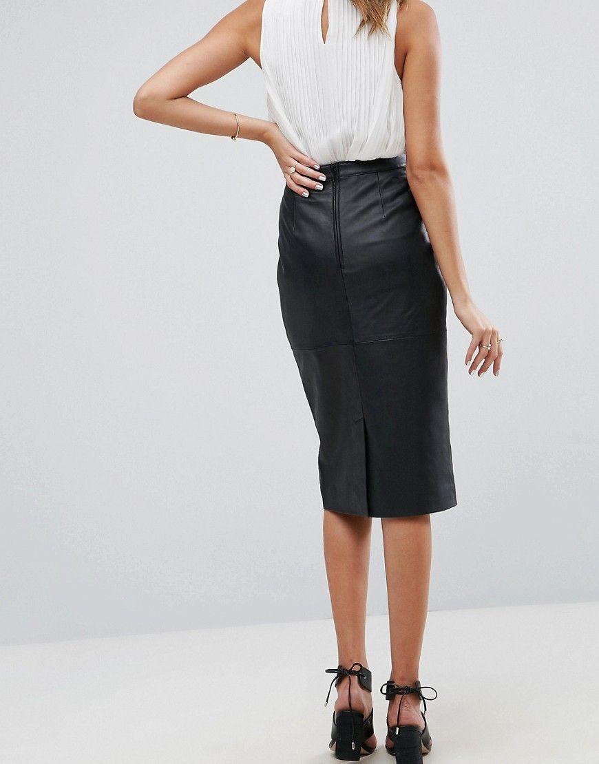 e68739f15b DESIGN midi pencil skirt in leather | Wishlist | Skirts, Asos ...