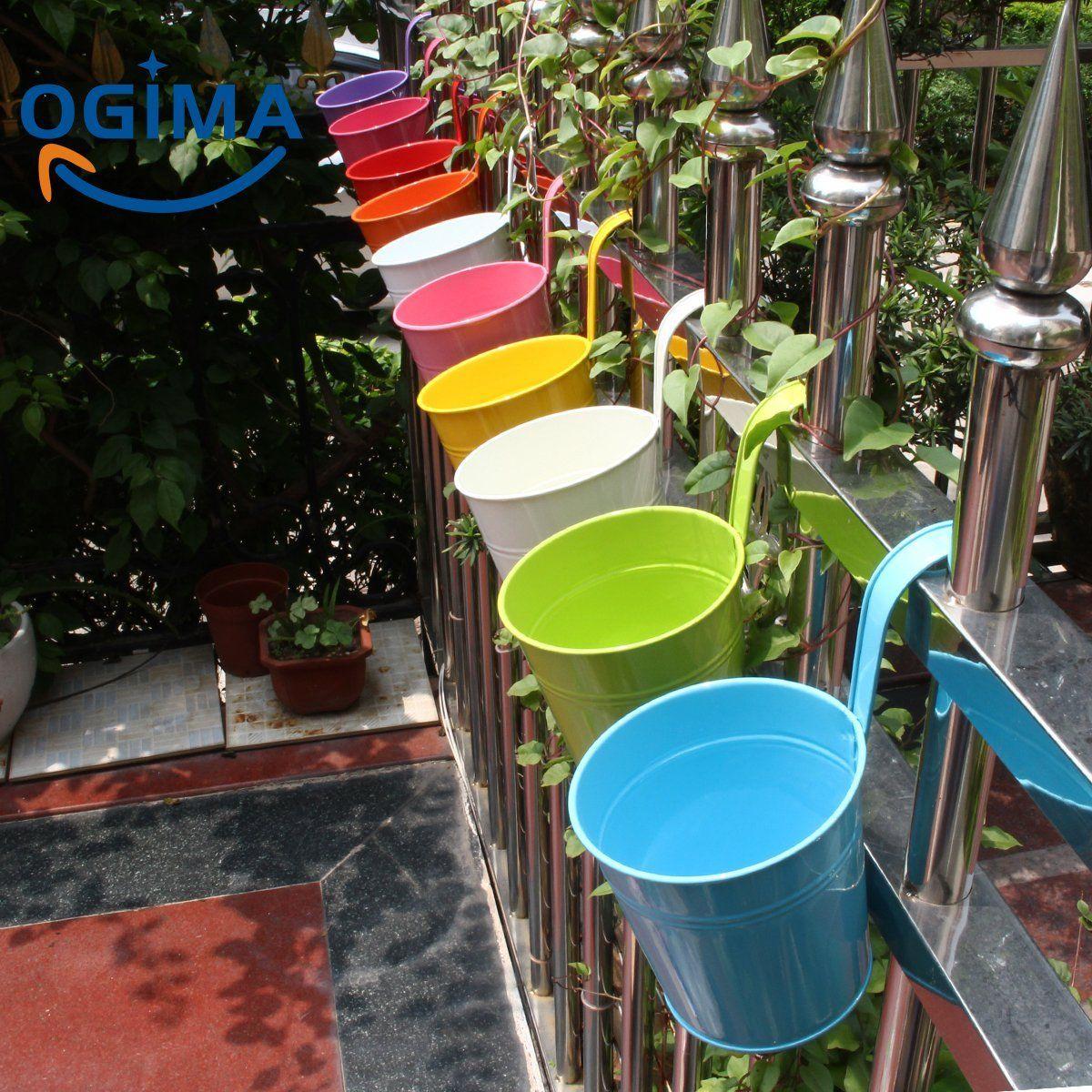 Vasi Da Giardino Colorati vasi da fiori in metallo da appendere al balcone o per uso
