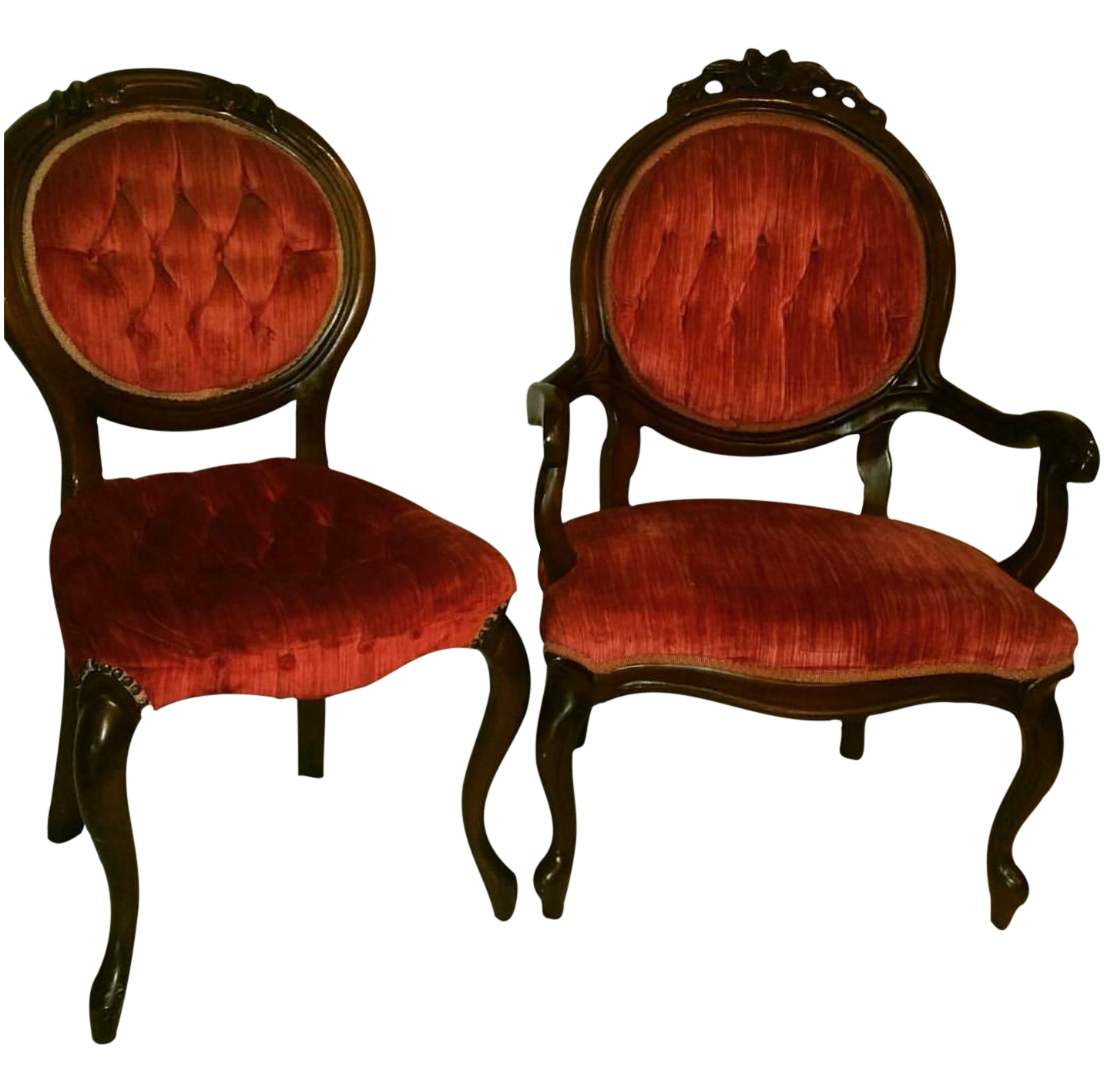 Victorian Parlor Chairs Rattan Bistro Canada These Gorgeous All Original Red Velvet