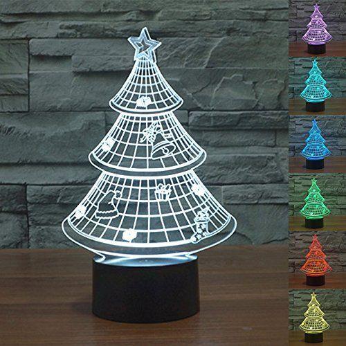 3D Christmas Tree Night Light 7 Color Change LED Table Desk Lamp
