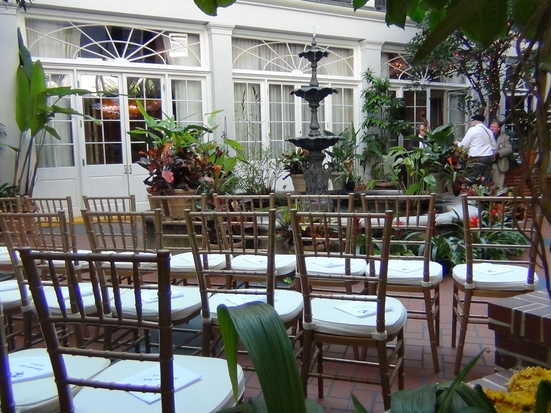 Seating in the courtyard at the Royal Sonesta Hotel New Orleans.