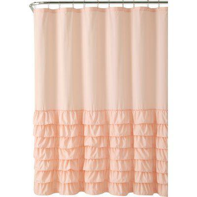 Lark Manor Standifer Ruffle Single Shower Curtain Color Light