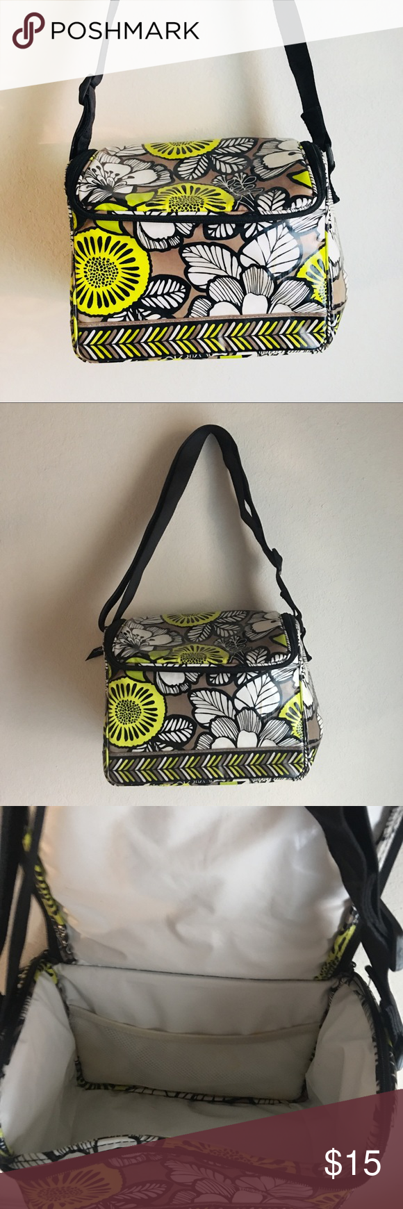 d56050ec3e Vera Bradley Lunch Box  DISCOUNTED SHIPPING  Vera Bradley lime green black  white gray floral lunch box. Adjustable strap and 2 zippers. Used a few  time and ...