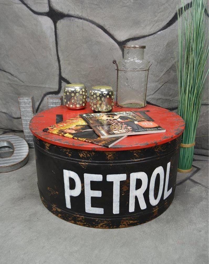 Industrial Style Couchtisch Beistelltisch Metall Ölfass Vintage Industrie Look Loft Shabby Chic Beistelltisch Metall Ölfass Tisch Couchtisch