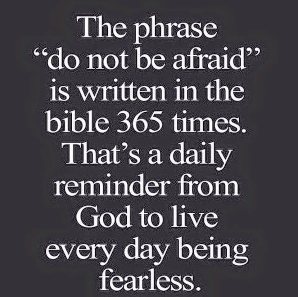 "The phrase ""do not be afraid"" is written in the bible 365 times That s a daily reminder from God to live everyday being fearless 25 Quotes That Will"