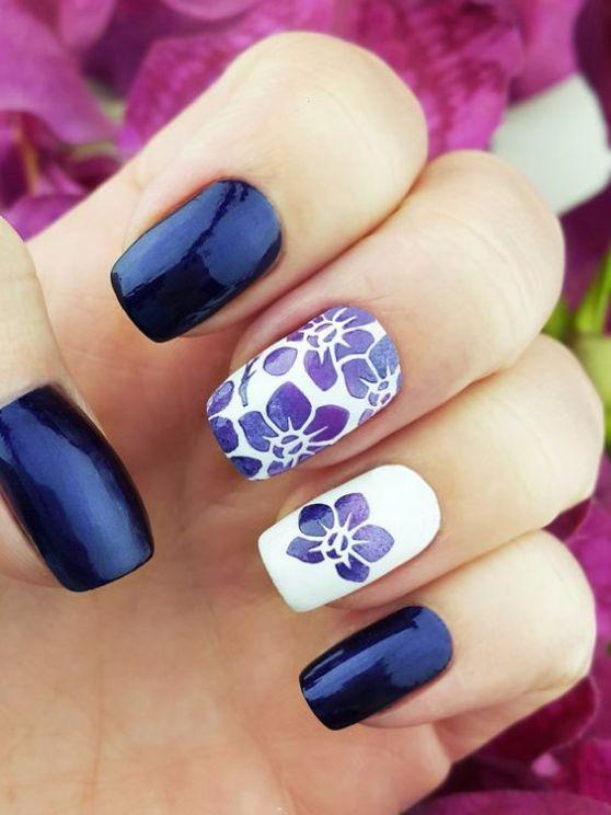 Flower nail art.   uñas..   Pinterest   Diseños de uñas, Arte de ...