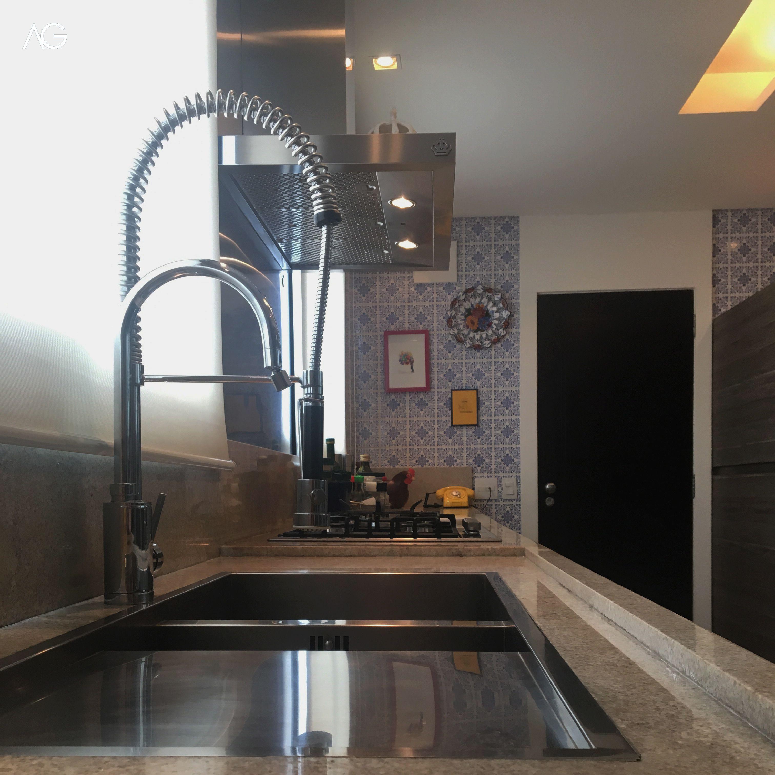 Cozinha Bancada Granito Branco Itaunas Cuba Embutida Torneira