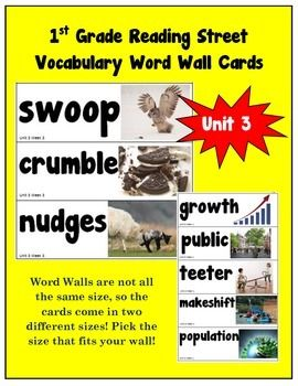 1st Grade Reading Street Amazing Words Vocabulary Word Wall Cards
