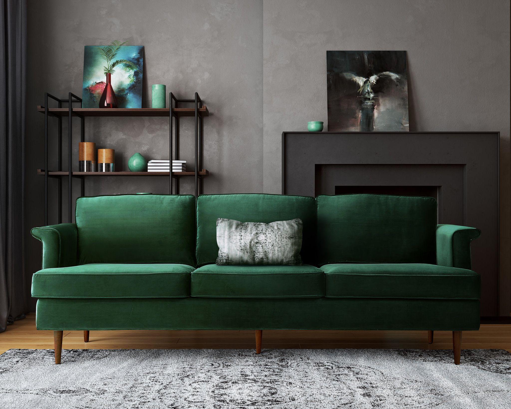 Porter Forest Green Sofa Foam Cushions Mid Century