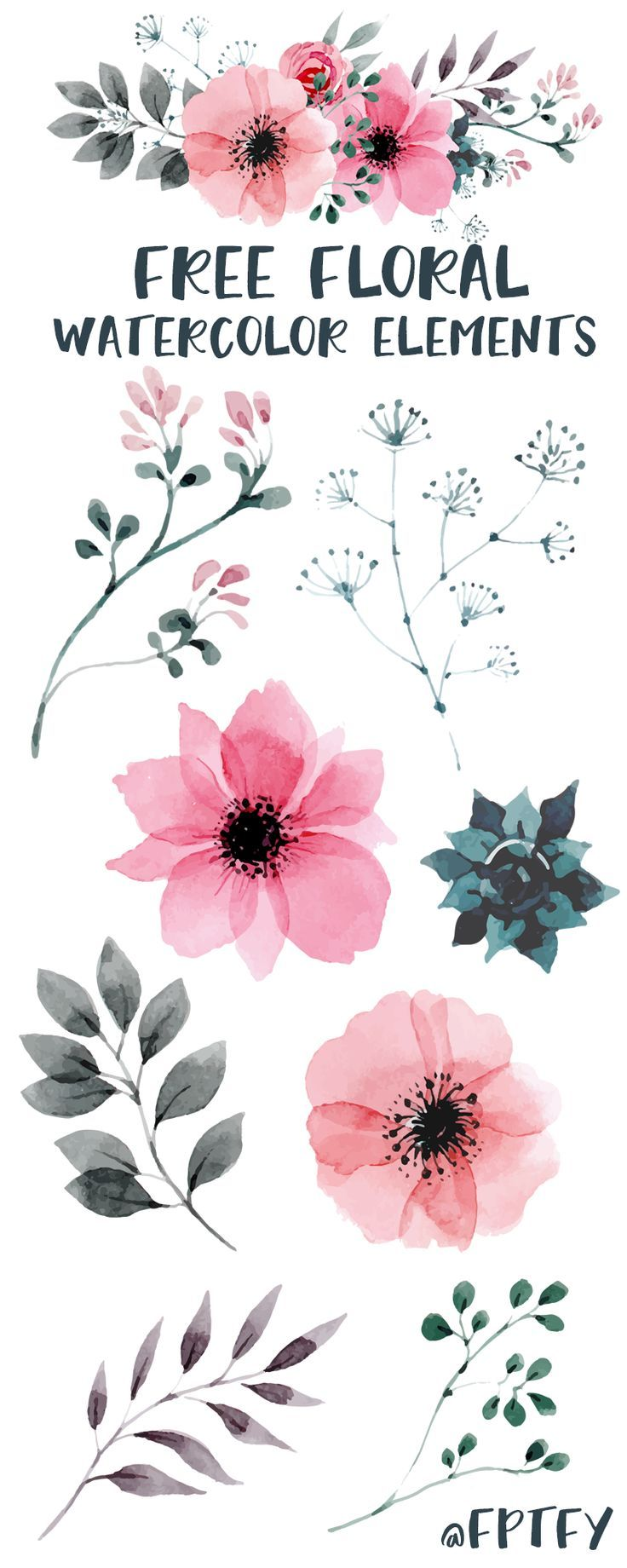 Free Watercolor Floral Elements - Free Pretty Things For You #freereadingincsites