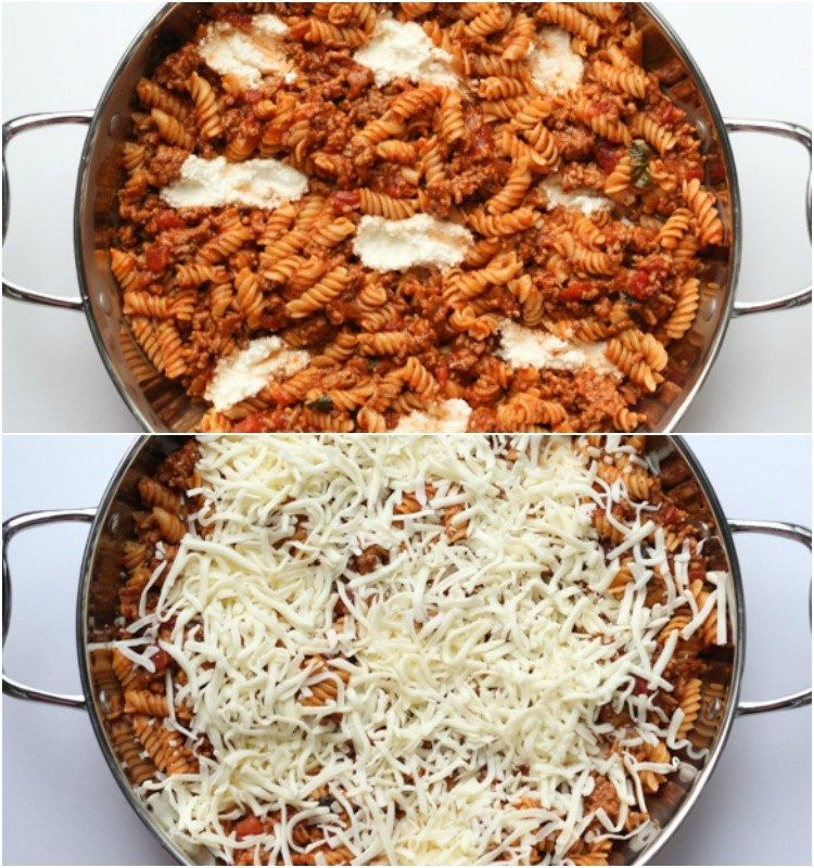 Easy And Quick Under 30 Minute Pasta Recipe With Marinara Meat Ricotta And Mozzarella Cheese