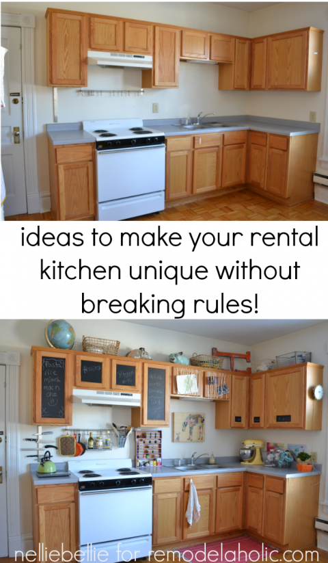 Great ideas to personalize your rental kitchen from NellieBellie at on rental office decorating ideas, studio apartment kitchen decorating ideas, rental apartment bedroom decorating ideas,