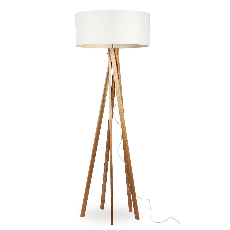 Original lámpara de pie con pantalla blanca de tela