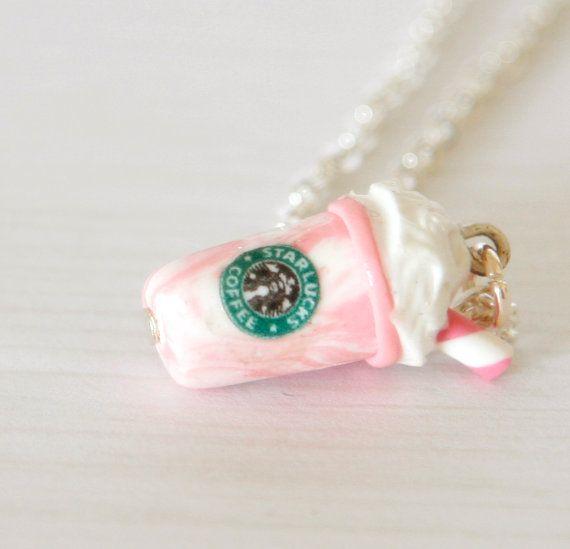 Charms Handmade Jewelry Whimsical Miniature Food Jewelry Pendant Necklace Starbucks Coffee Beverage Drinks Cup Kawaii Cute Fast food