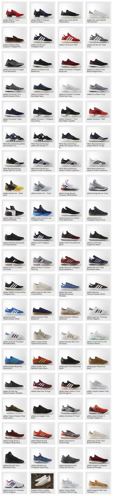 80 tipi di scarpe ADIDAS http://staypulp.blogspot.com/2017/03/80-tipi-di-scarpe-adidas.html