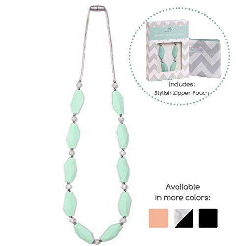 Goobie Baby Naomi Silicone Teething Necklace for Mom to Wear Safe BPA Free Beads to Chew  MintMarble >>> More info could be found at the image url.