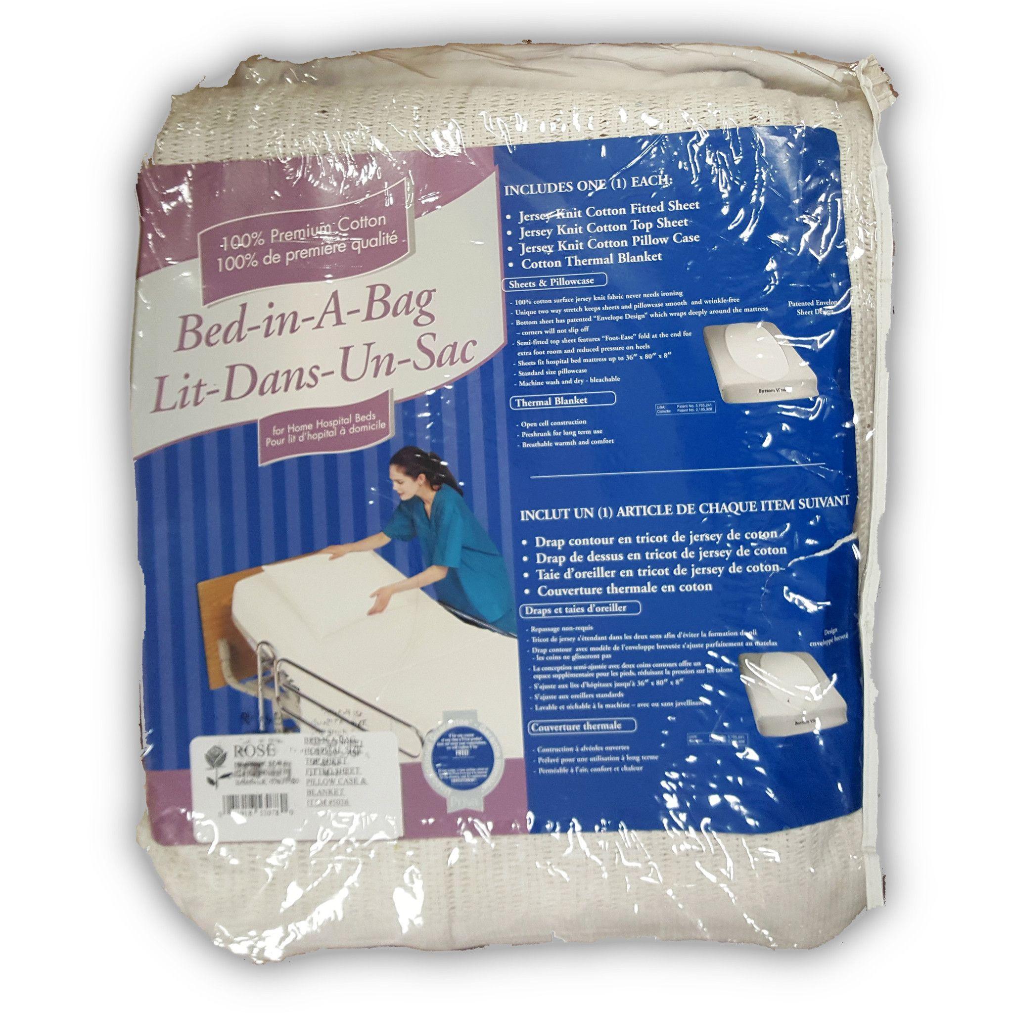Cotton Bed-In-A-Bag Blanket Sheet Kit for Home Hospital Beds   Rose  Healthcare