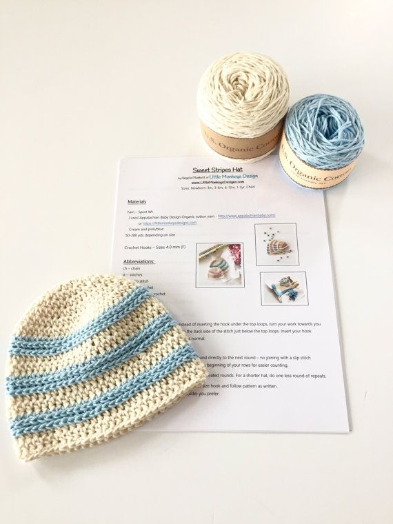 Crochet Pattern And Yarn Kit For Organic Cotton Baby Hat Sweet