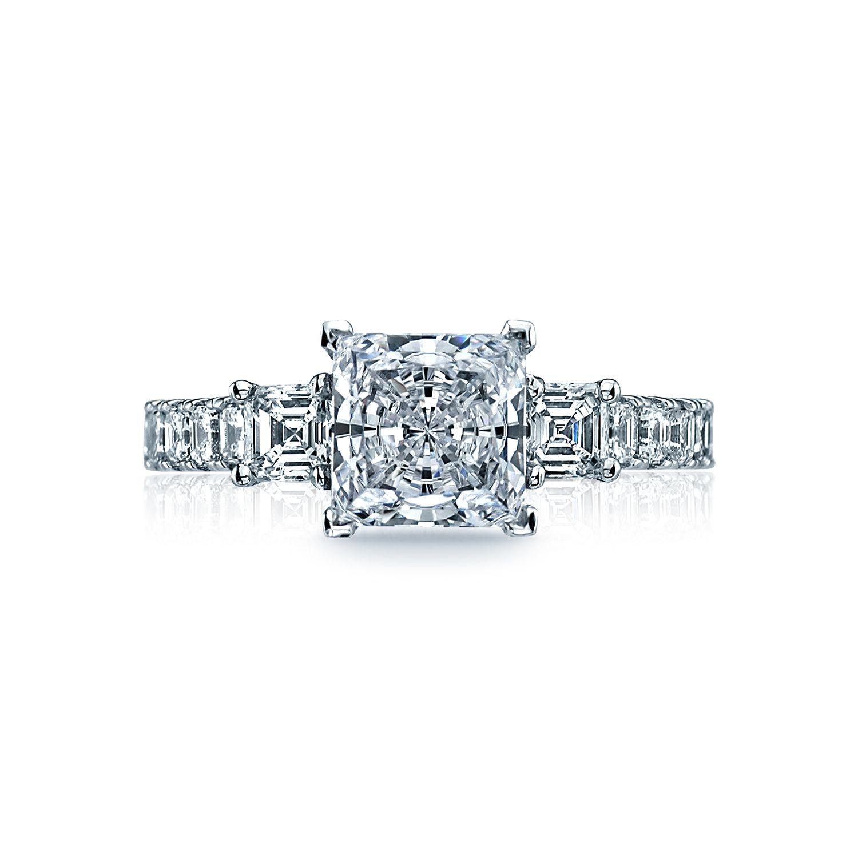"Tacori ""Clean Crescent"" Three-Stone Princess Engagement Ring Setting"