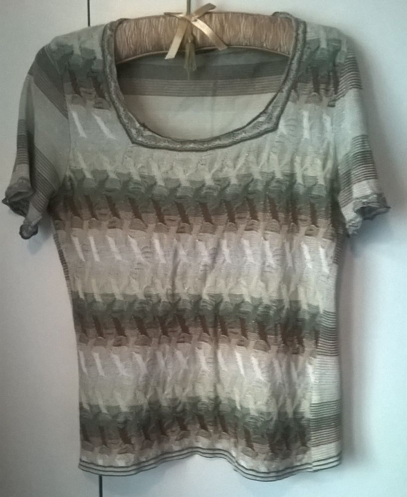 a61e2f727d8 Green/Brown/Cream/Silver Patterned Party Top WORN ONCE EX COND #fashion # clothing #shoes #accessories #womensclothing #tops