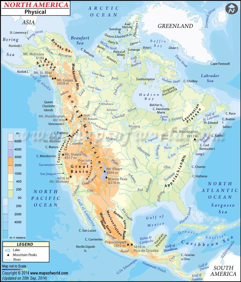 Physical Map Of North America North American Geography - Maps of north america