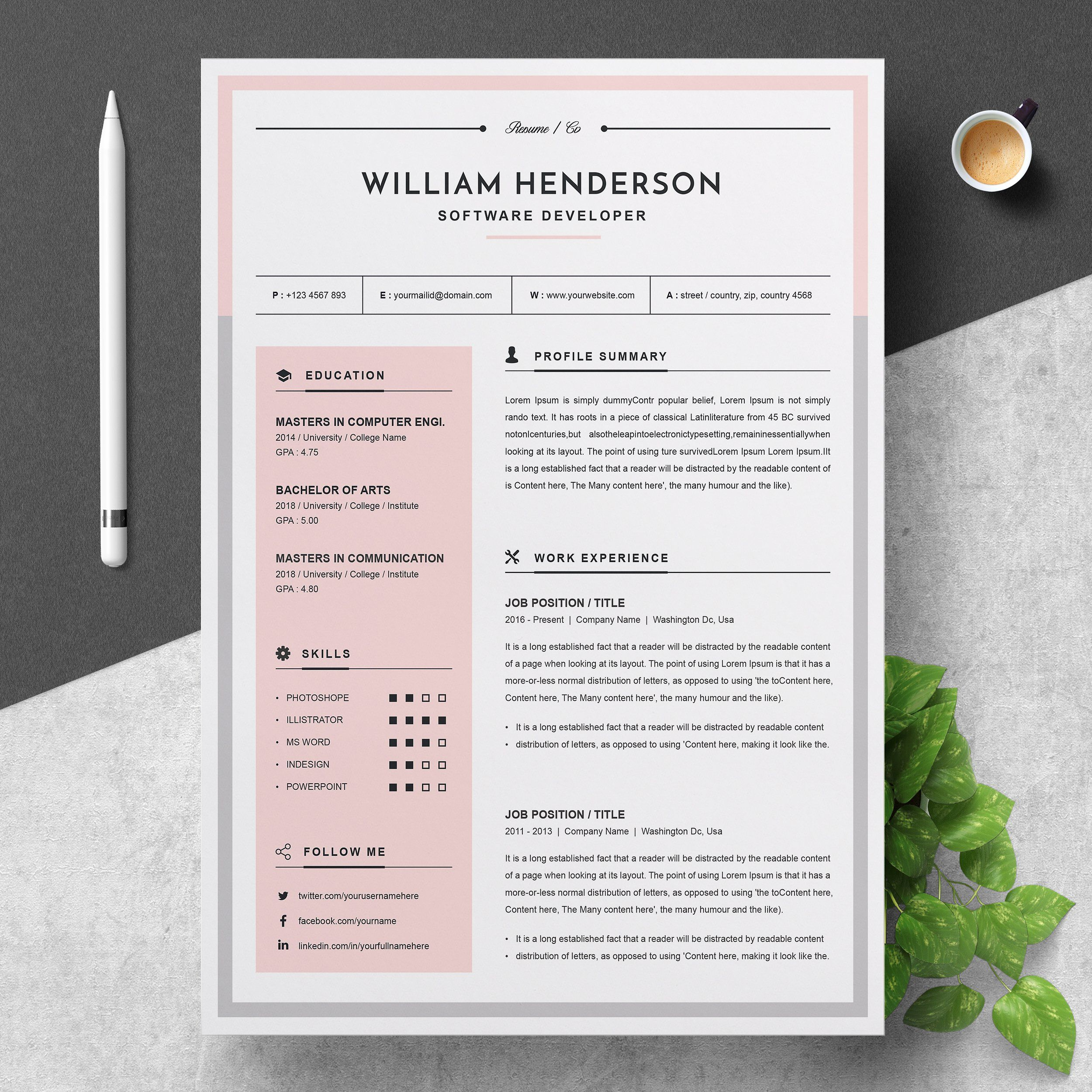 Modern Resume #icons#COLOR#areas#colored