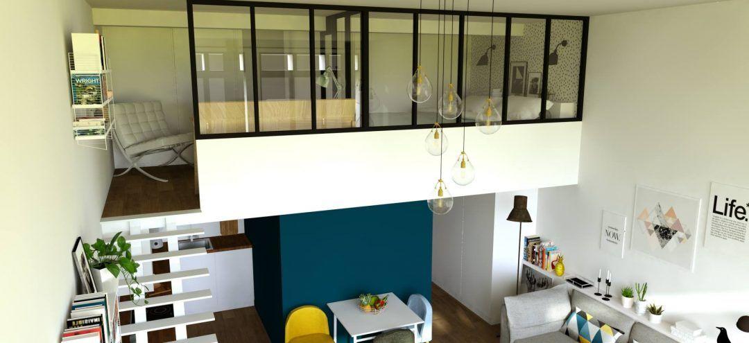 Réaménagement Dun Studio Avec Mezzanine Mezzanine Verrière Et Fermer - Porte placard coulissante jumelé avec serrurier bagnolet