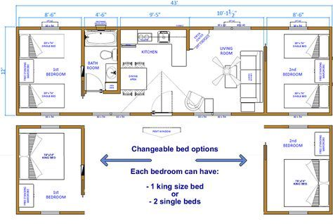 12x32 Cabin Floor Plans Two Bedrooms Click Floor Plan For A Larger Image Cabin Floor Plans Tiny House Floor Plans Shed Floor Plans