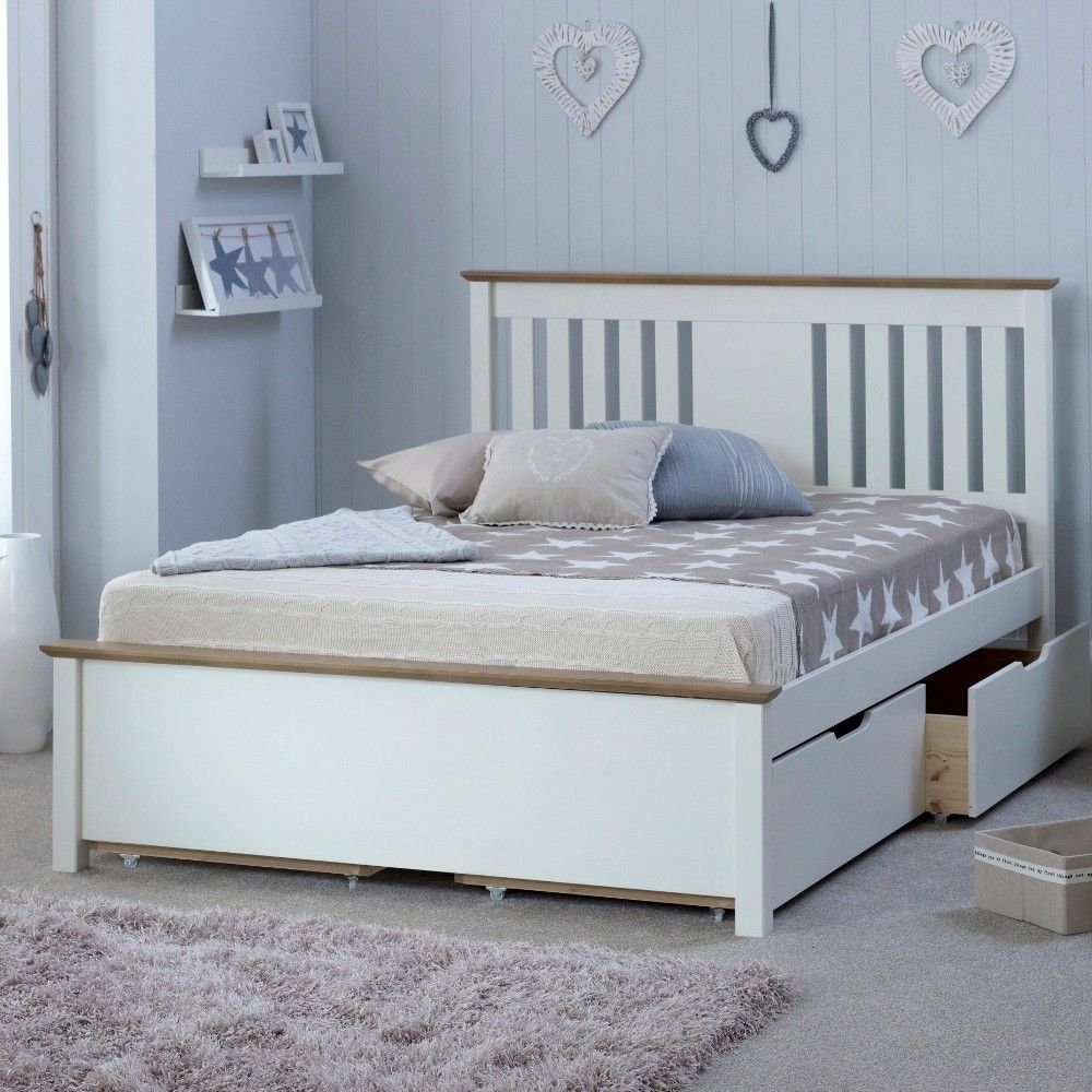 www happybeds co uk chester solo white and oak wooden bed frame with