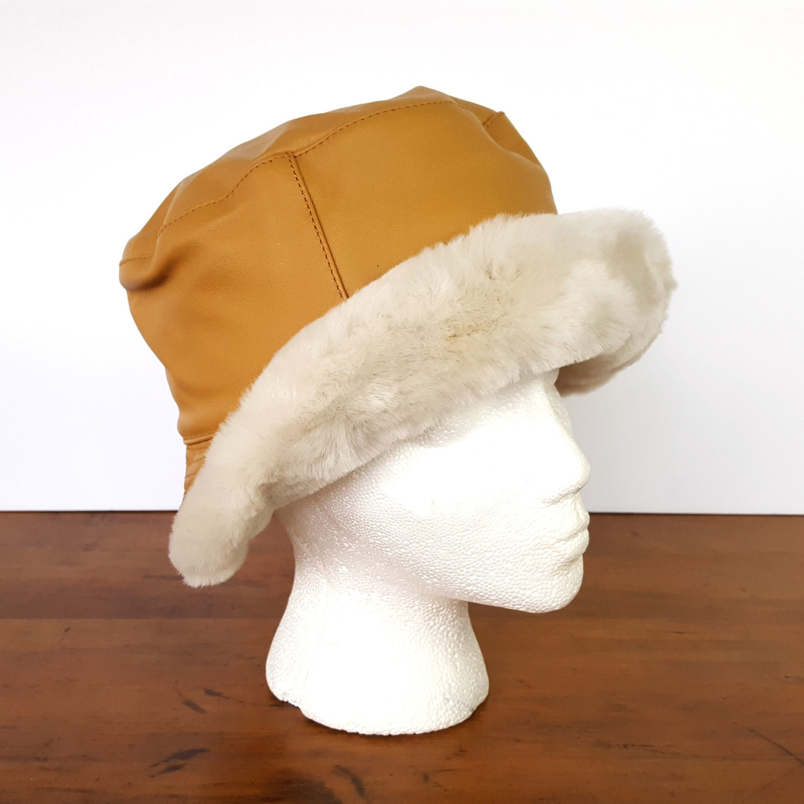 18.95$  Buy here - http://vixxf.justgood.pw/vig/item.php?t=sfab9349235 - Wilson Leather Brown Tan Bucket Hat Faux Fur Lined Winter Womens Small Medium