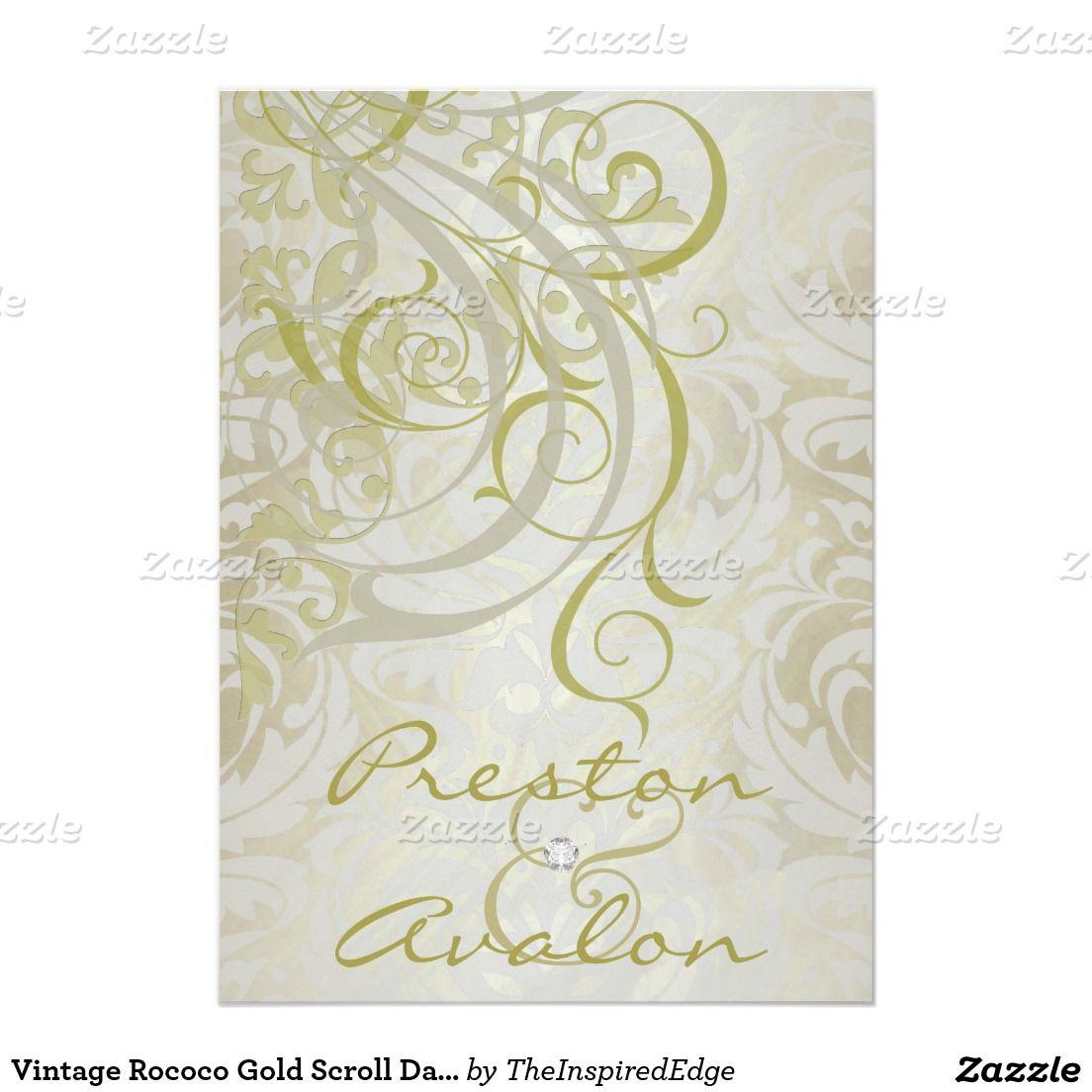 Vintage Rococo Gold Scroll Damask Invitation 5 X 7 Invitation Card Damask Invitations Wedding Themes Winter Vintage Wedding Invitations