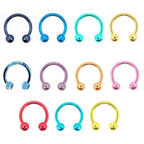 Horseshoe Ring 4pc Circular Barbell Rings W// Round /& Spike Ends 18G Nose Lip Ear