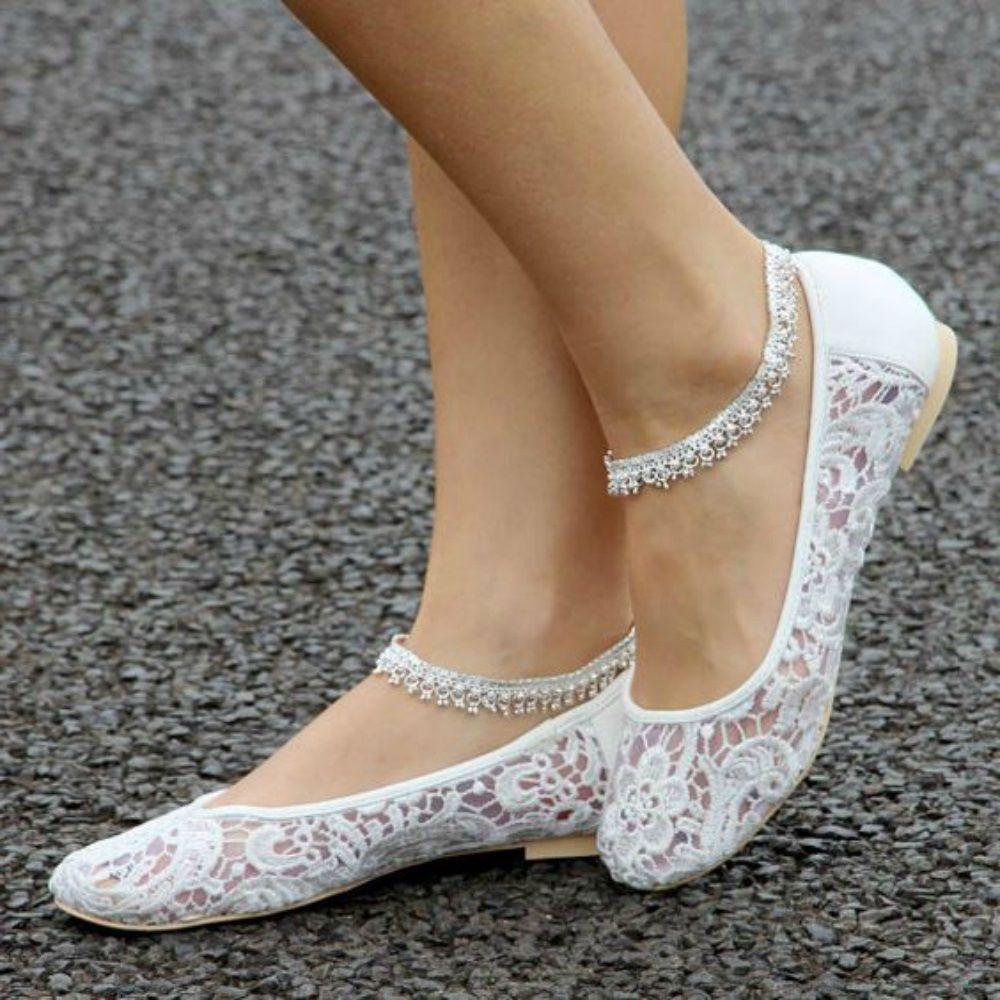 Wedding shoes flats lace
