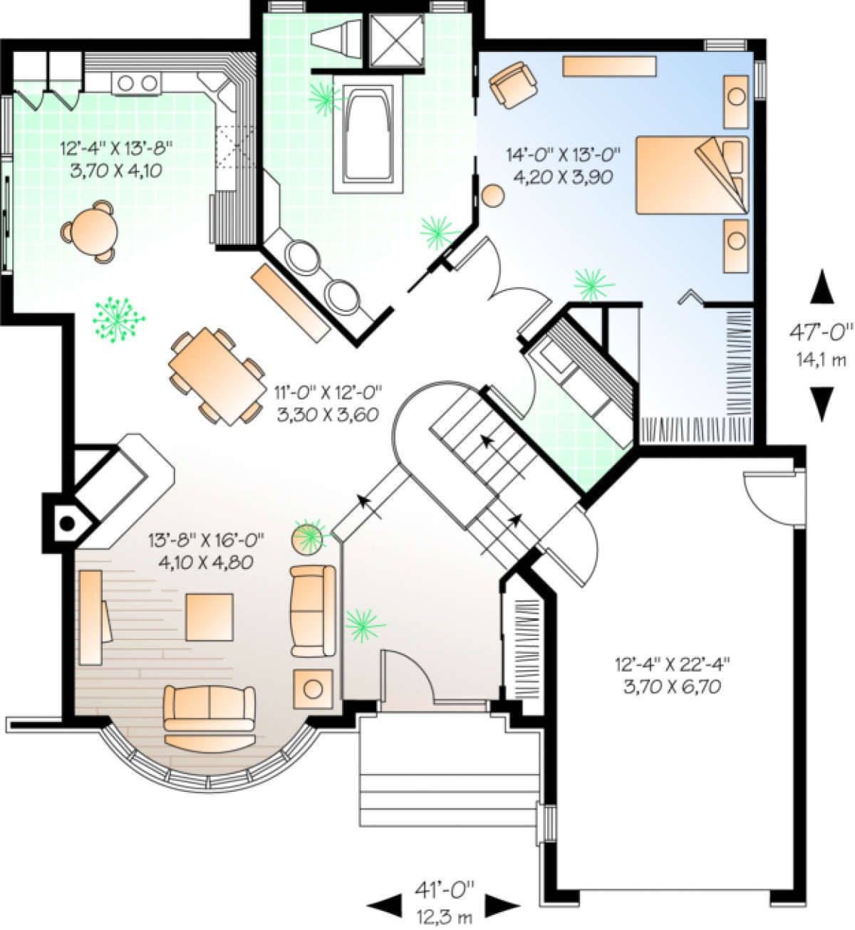 House Plan 034 00006 European Plan 1 231 Square Feet 1 2 Bedrooms 1 Bathroom House Plans Victorian House Plans Vacation House Plans