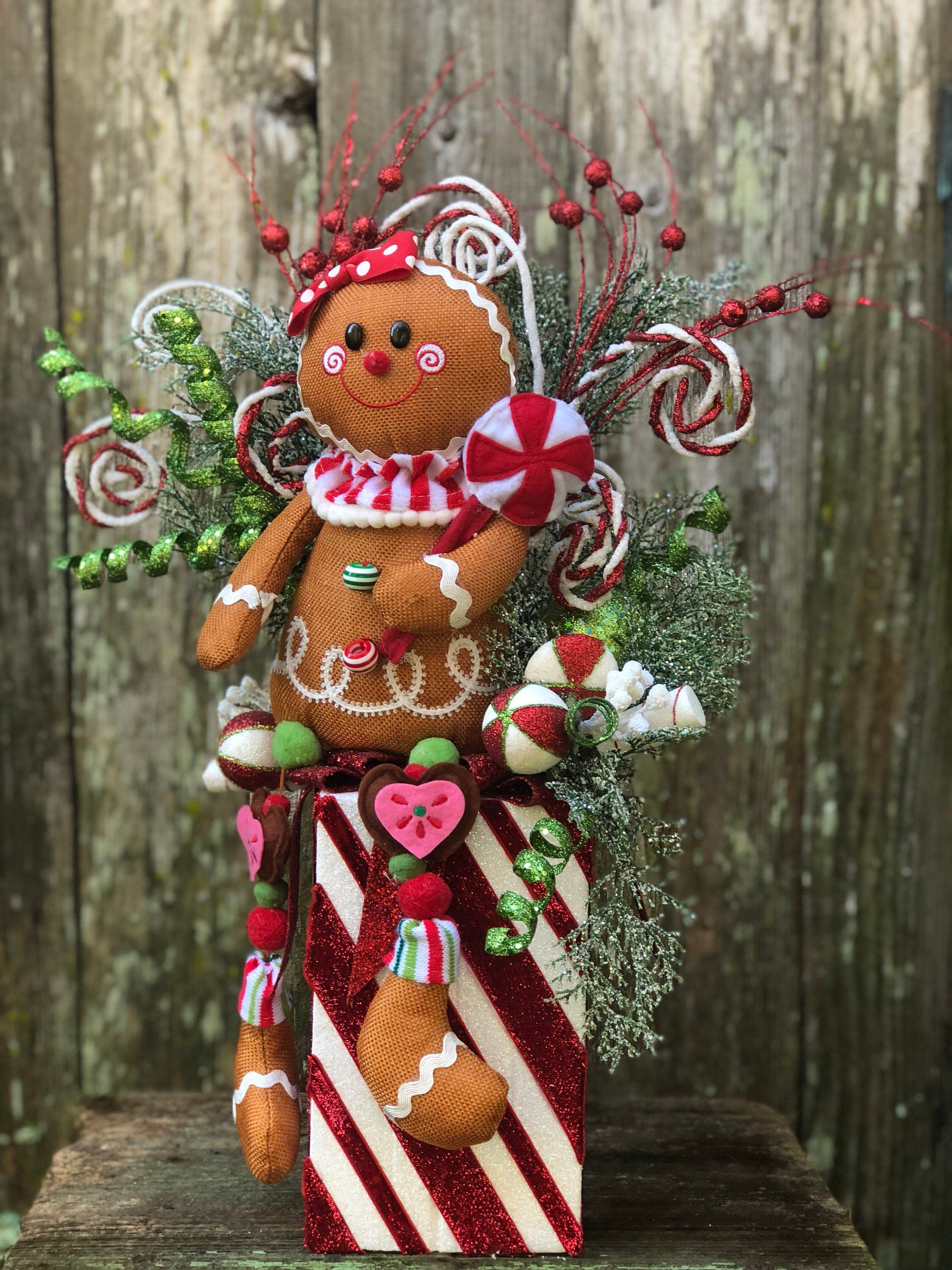 Excited To Share This Item From My Etsy Shop Gingerbread Christmas Arrangement Gingerbread Theme Christmas Arrangements Gingerbread Gifts Christmas Greenery
