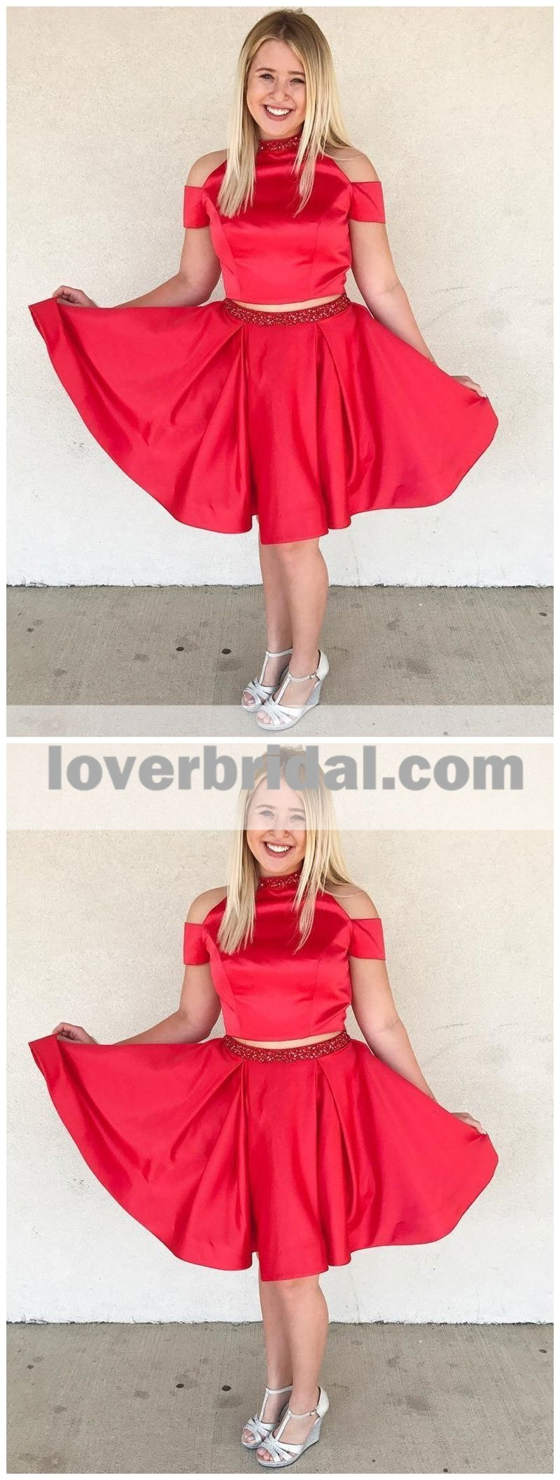 Two pieces halter red off shoulder cheap homecoming dresses