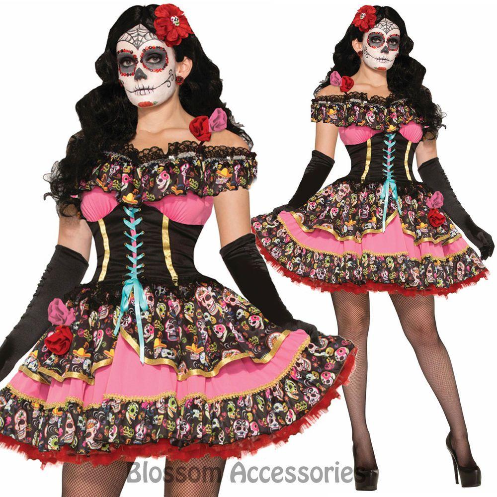 K89 Sexy Mexican Day Of The Dead Skull Spanish Dress Senorita ...