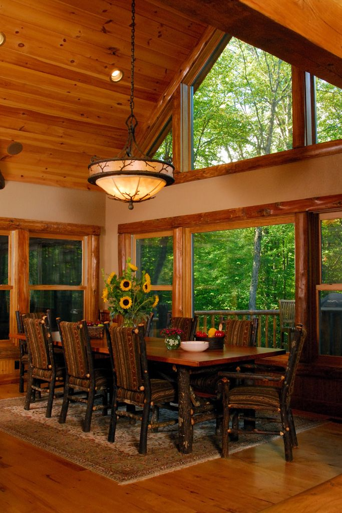 The dining room of my client's Adirondack style lake home ...