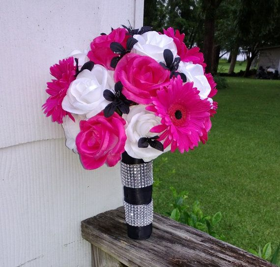 Dark Pink Wedding Flowers: Hot Pink White Black Bridal Set Pink Bouquet By