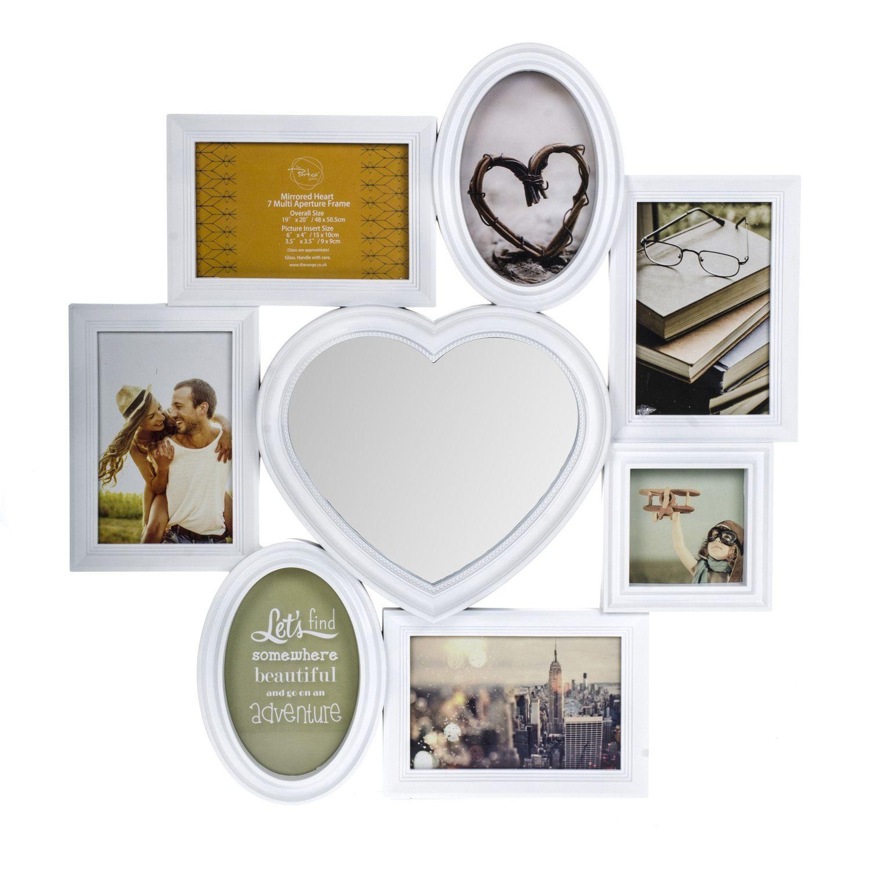 $5.99 Mirrored Heart 7 Multi Aperture Frame | The Range | Girlies ...