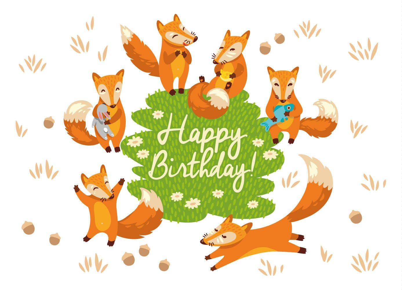 Приколы, открытки с лисами день рождения