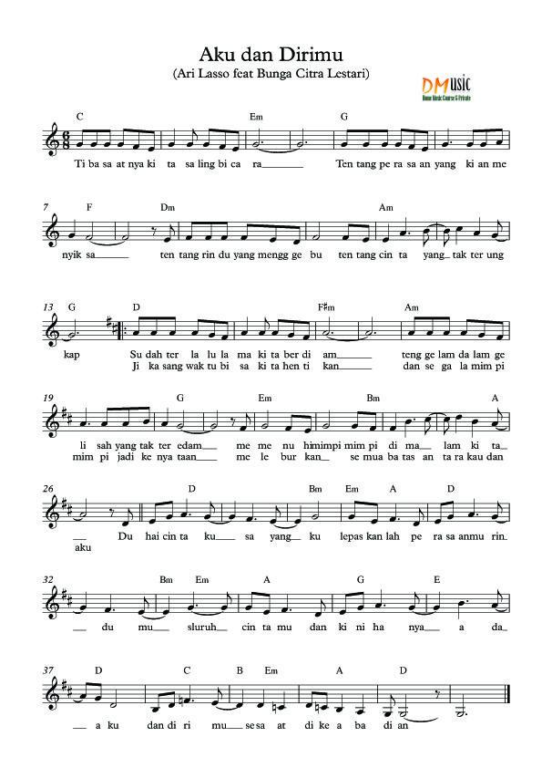 Partitur Lagu Not Balok & Angka (IndonesiaBarat) (Dengan