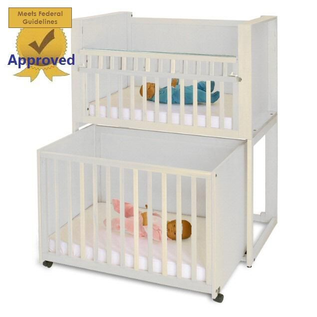 Two Unit Infant Daycare Bunkie Crib Stacking Cribs Stackable