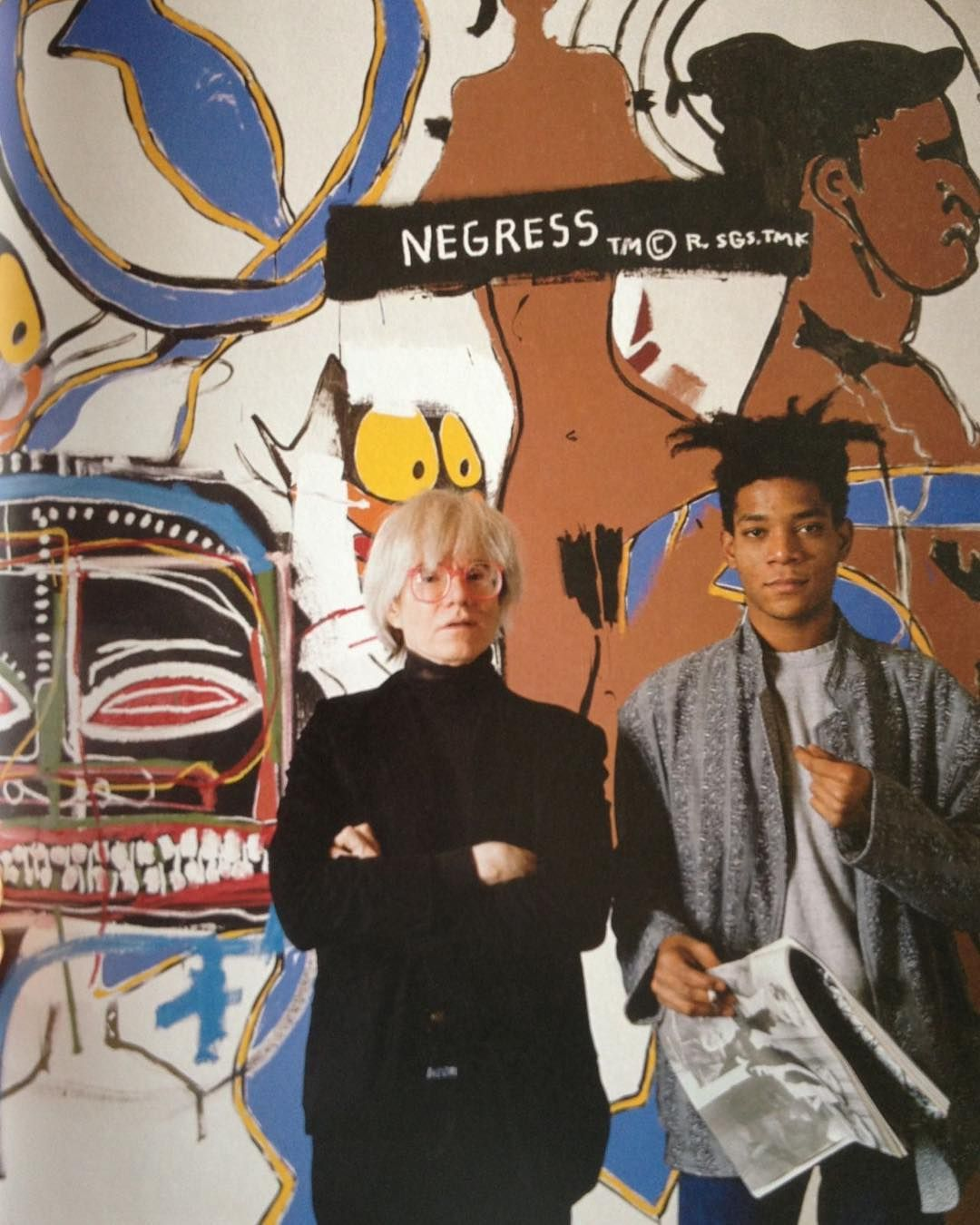 Andy Warhol and Jean-Michel Basquiat at the Tony Shafrazi Gallery during the exhibition Warhol and Basquia #andywarhol
