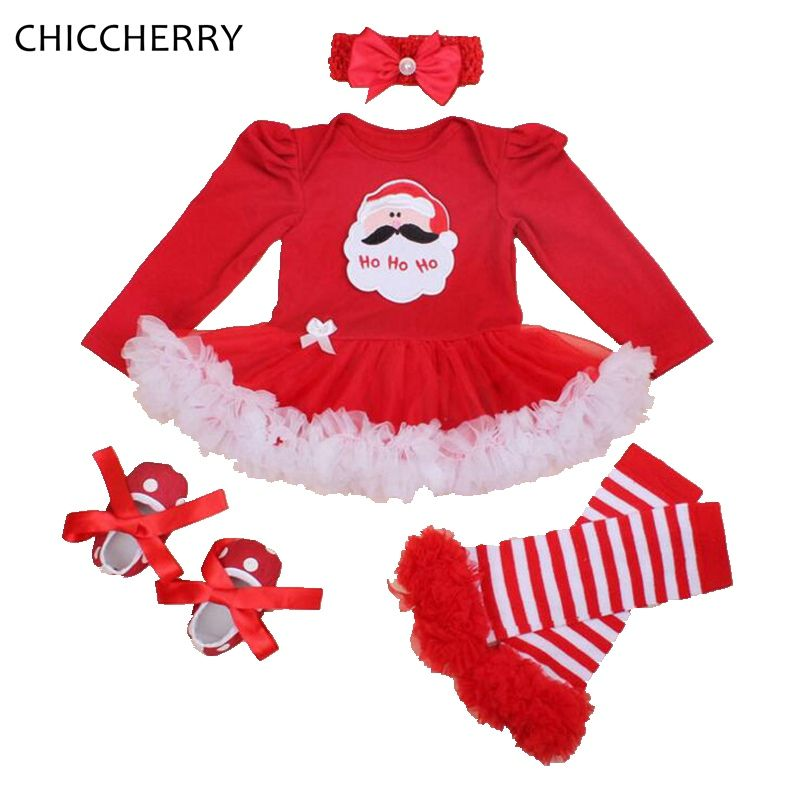 89c57ca46394 Santa Claus Red Baby Christmas Costume Lace Romper Dress Warmers ...