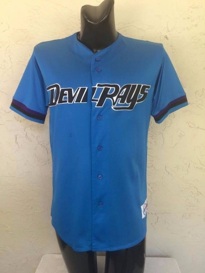 8a5e13b30ac Tampa Bay Devil Rays 90s Throwback Jersey Sewn Majestic Size L  Majestic   TampaBayDevilRays