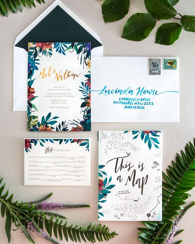 Tropical Garden Party Copper Foil Wedding Invitations Invites