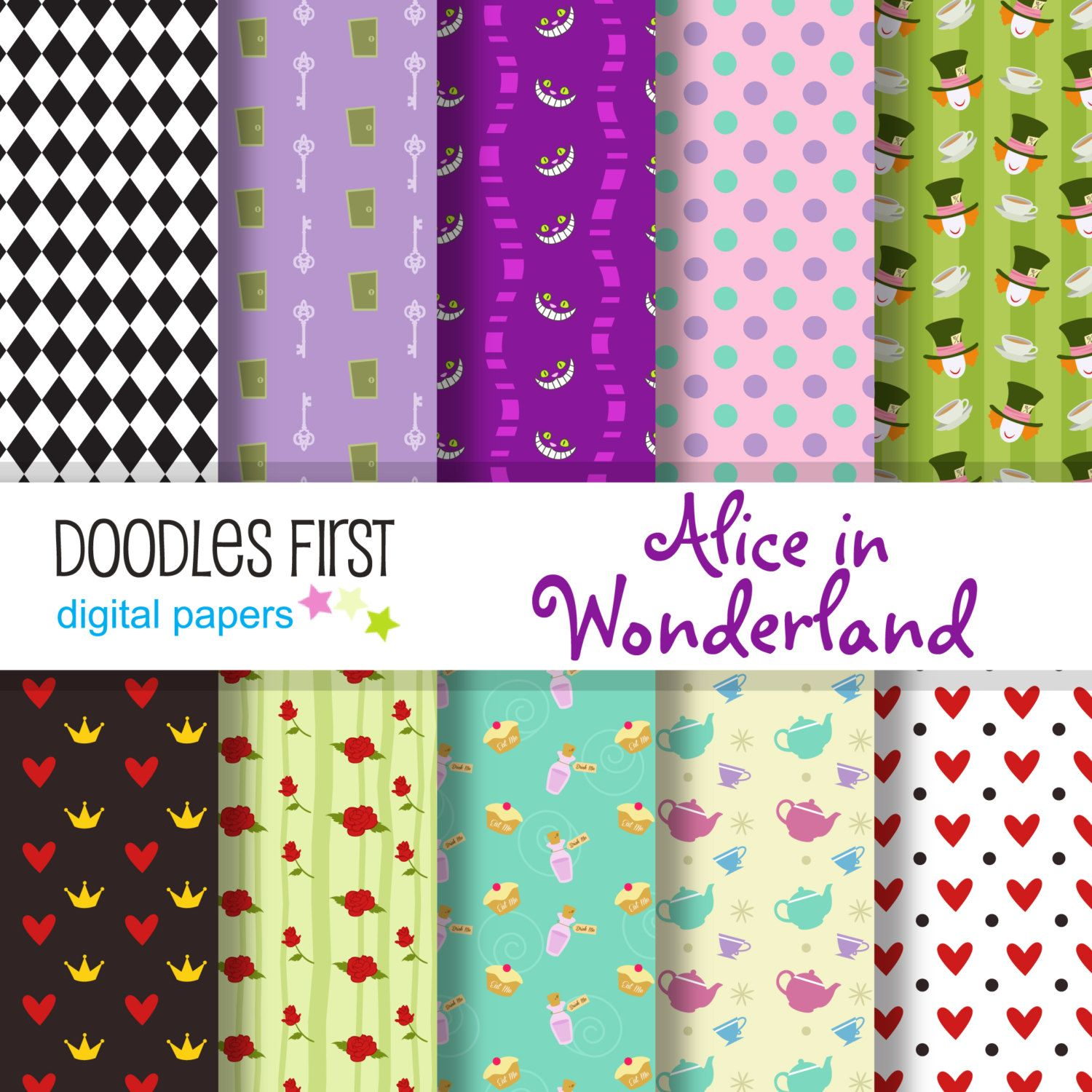 Alice in wonderland digital paper pack includes 10 for alice in wonderland digital paper pack includes 10 for scrapbooking paper crafts doodlesfirst 299 usd jeuxipadfo Choice Image